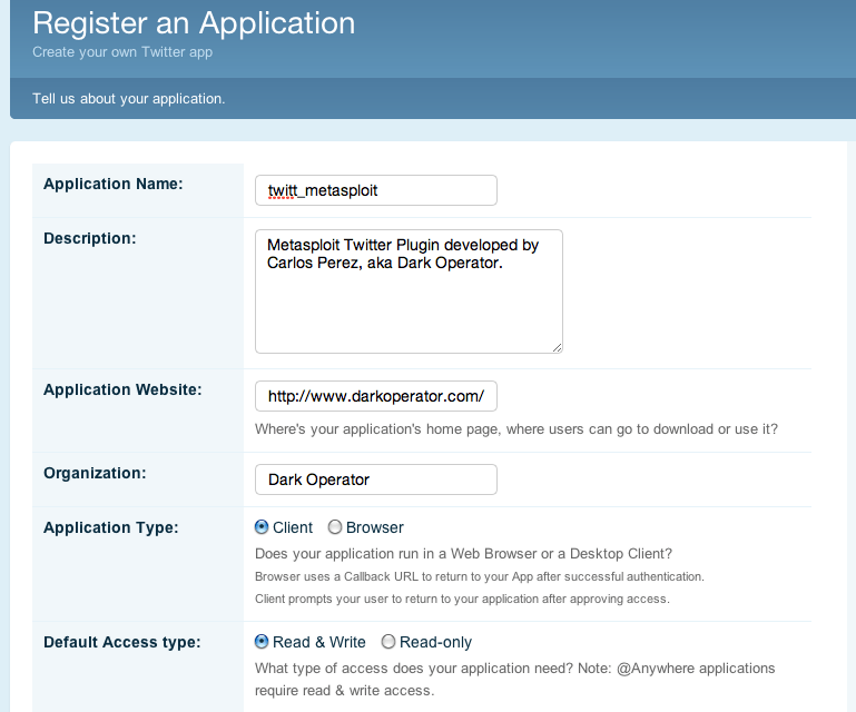 Twitter Developers Application Registration