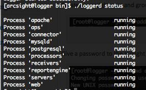 ArcSight Logger loggerd status