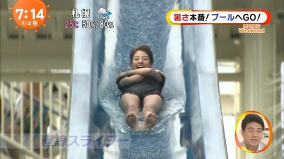 (放送事故)岡副麻希アナがミズ着で凄まじいマンスジを披露wwwwwwwwwwww(TVえろキャプ写真あり)