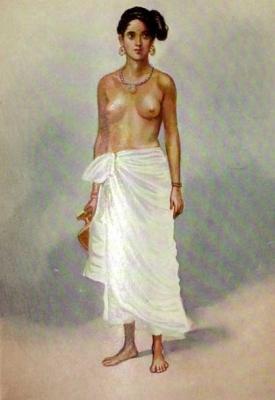 Керальская наира. Картина написана Рао Бахадуром М. В. Дхурандхаром в 1928.