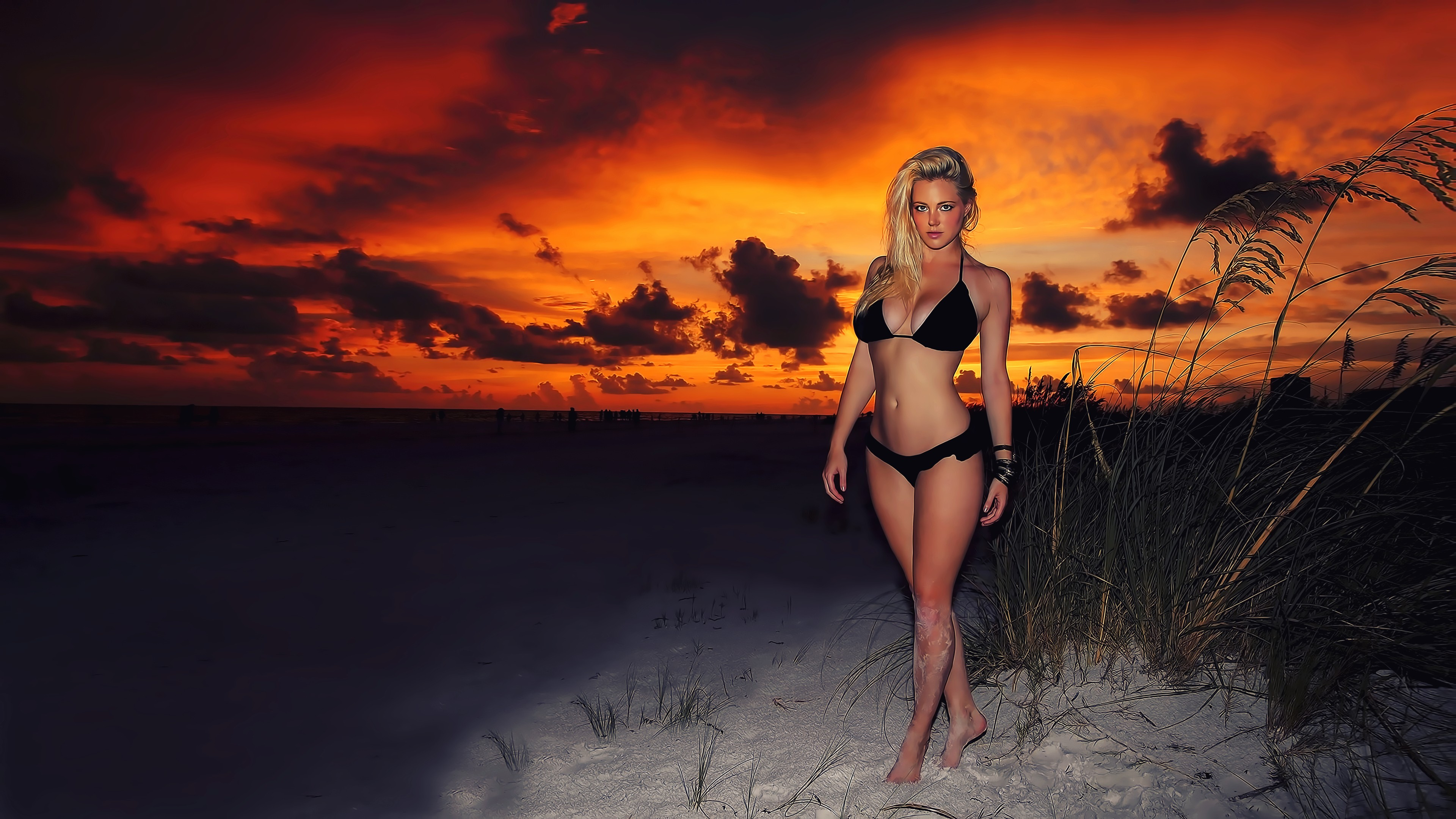 Anime Beach Wallpaper Download 3840x2160 Black Bikini Sunset Blonde Curvy