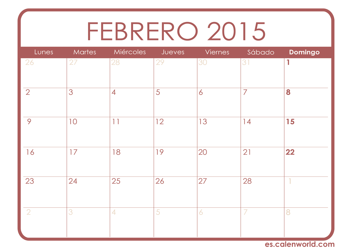 Calendario Mes Febrero Febrero 2015 Search Results Calendar 2015