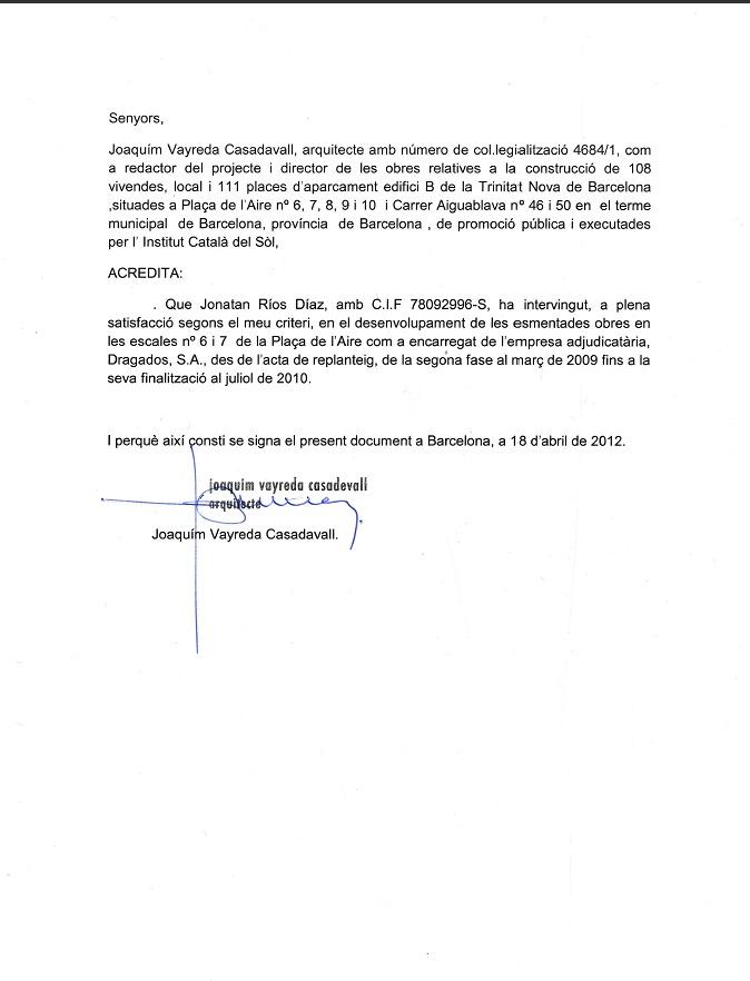 Foto Cartas de Recomendación Arquitectos de Claxa Reformas SL