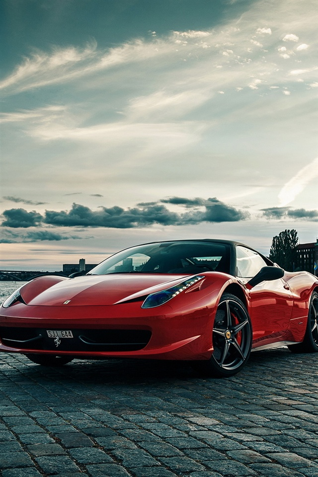 Nice Car Wallpaper Download Ferrari 458 Rojo Supercar Iphone X 8 7 6 5 4 3gs Fondos
