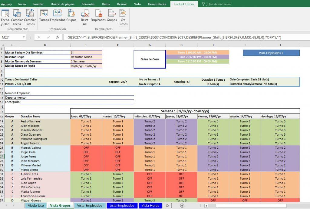 Guía para hacer turnos de trabajo 24x7 en Excel Cuadrante de trabajo