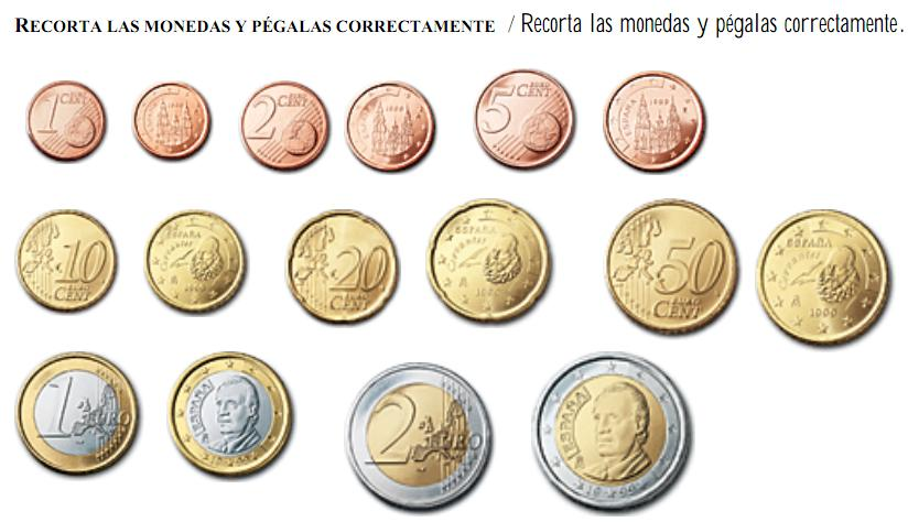Ficha monedas Recurso educativo 47893 - Tiching