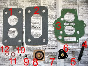 Componentes do kit de reparo utilizado: 1 - Junta do coletor de admissão; 2 - Junta da base do carburador; 3 - Junta da tampa do carburador; 4 - Mangueira do vácuo; 5 - Mola do diafragma suplementar; 6 - Diafragma suplementar; 7 - Mola do diafragma injetor; 8 - Diafragma injetor; 9 - Anel de vedação do giclê de aceleração; 10 - Anel de vedação do parafuso da mistura; 11 - Vedação do filtro de combustível; 12 - Vedação do parafuso da sede da agulha.