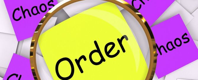 Order Chaos Post-It Papers Showing Organized Or Confused