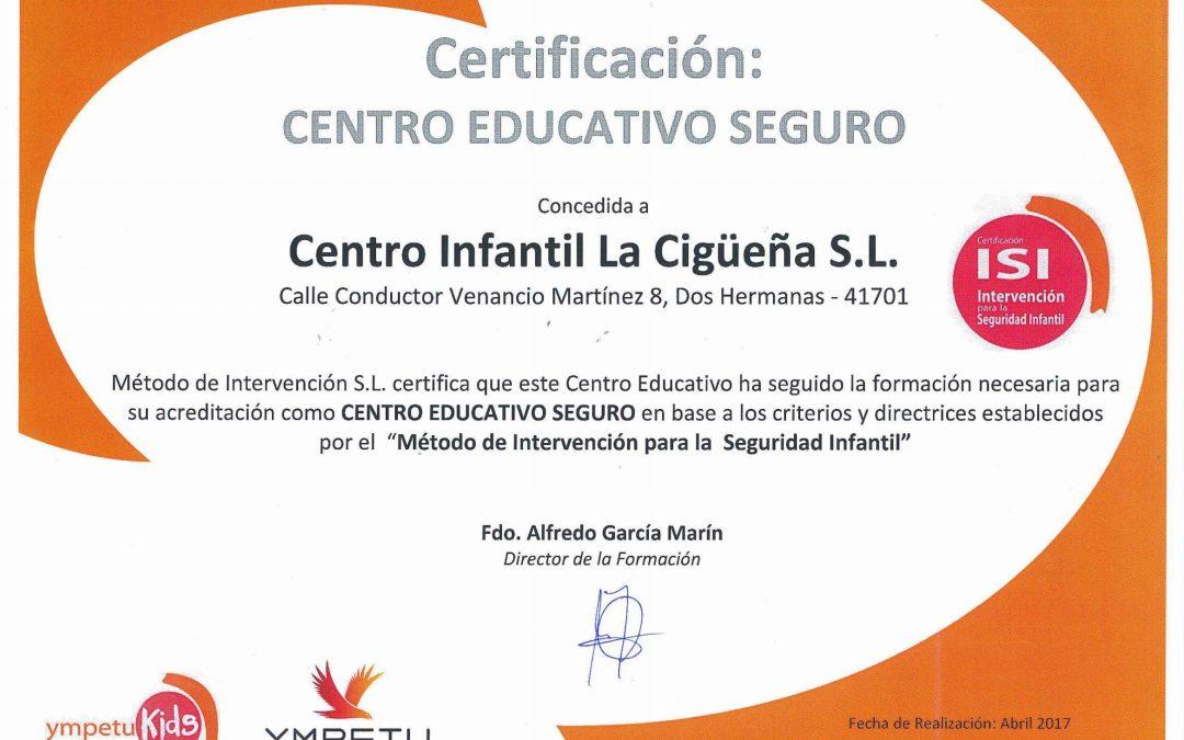 """RECIBIMOS EL DISTINTIVO DE """"CENTRO EDUCATIVO SEGURO"""""""