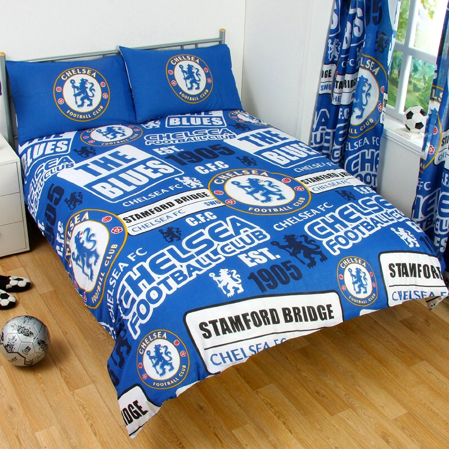 Boys Double Quilt Cover Details About Official Chelsea Football Club Double Duvet Quilt Cover Set Boys Kids Blue Bed
