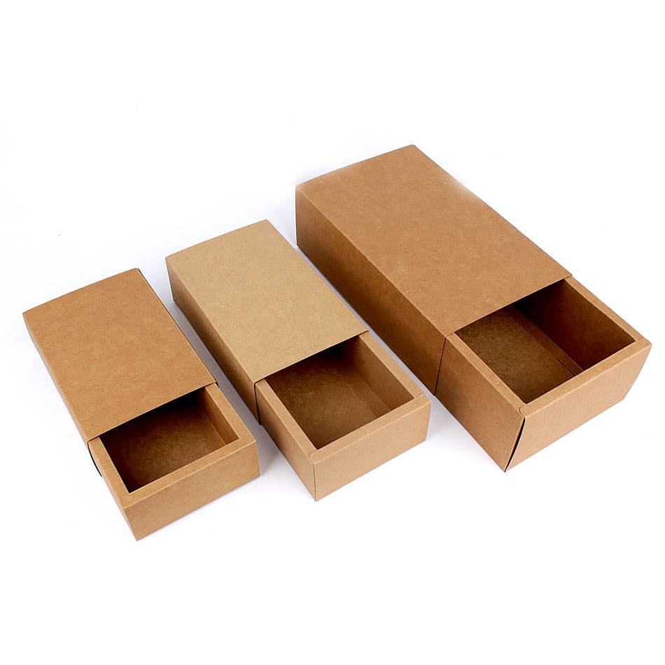 Boite Carton Kraft Brown Kraft Paper Folding Drawer Gift Box-3 Sizes
