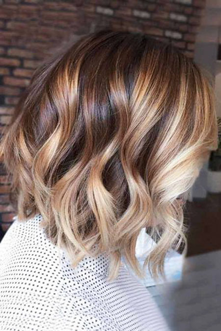 Bob Hairstyle With Balayage 12 Blonde Highlights On Short Brown Hair Short
