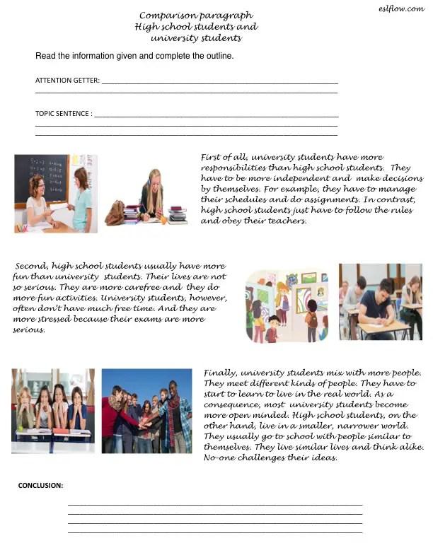 Comparison paragraph high school vs university writing exercise