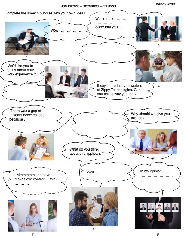 Language and vocabulary exercise for job interviews