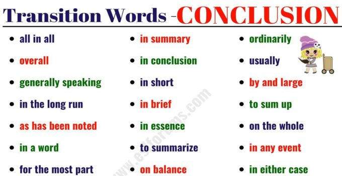 Transition Words and Phrases - ESL Forums