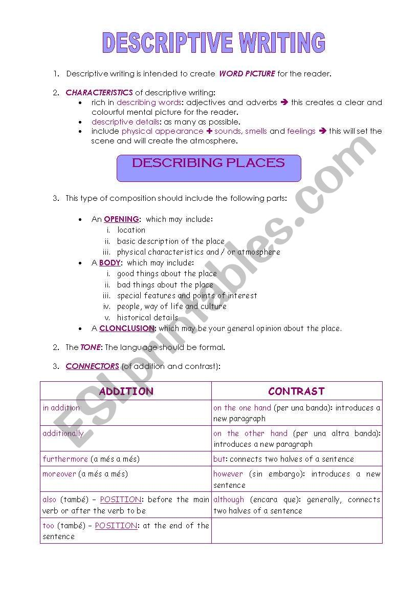Writing Guide Writing Guide Describing A Place Part 4 Of 4 Esl Worksheet By