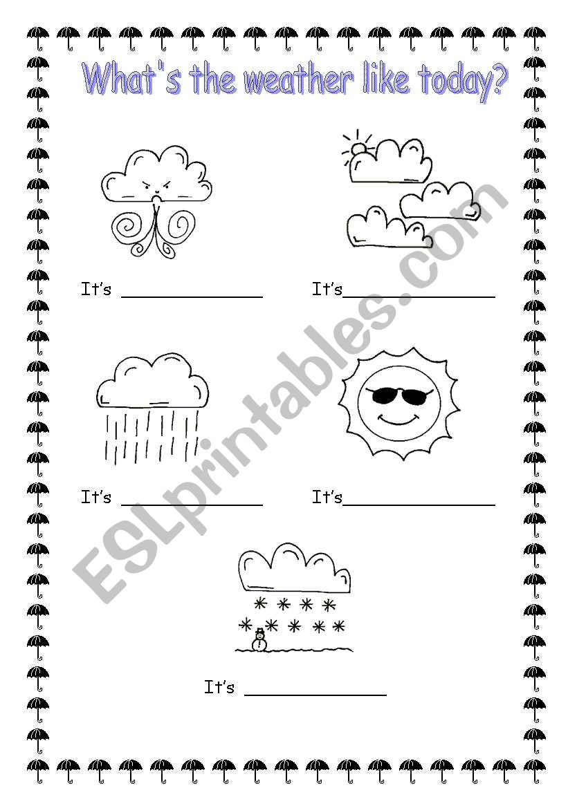 Like Weather What Whats The Weather Like Today Esl Worksheet By Sophia13