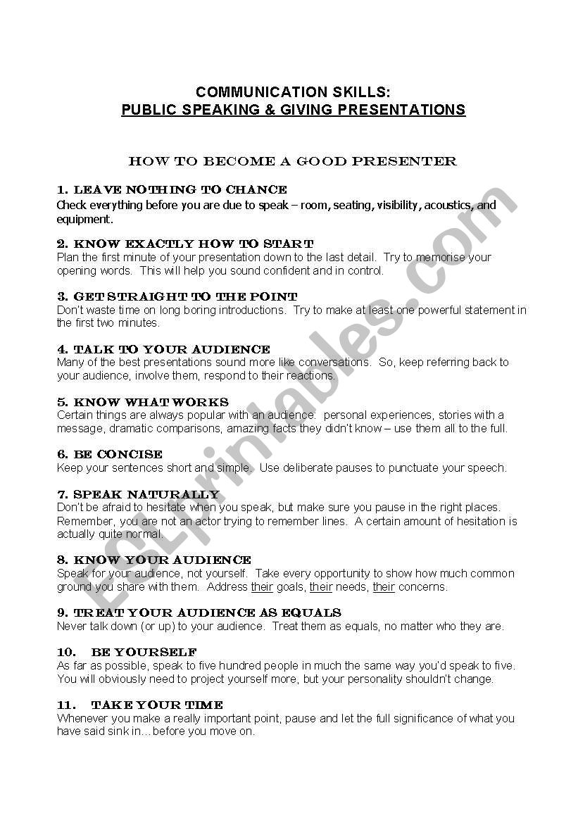 Public Speech Tips Presentation And Public Speaking Tips Esl Worksheet By Lanie247