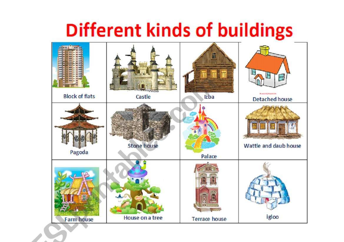 What Are The Different Styles Of Homes Different Types Of Houses Esl Worksheet By Juliakosach