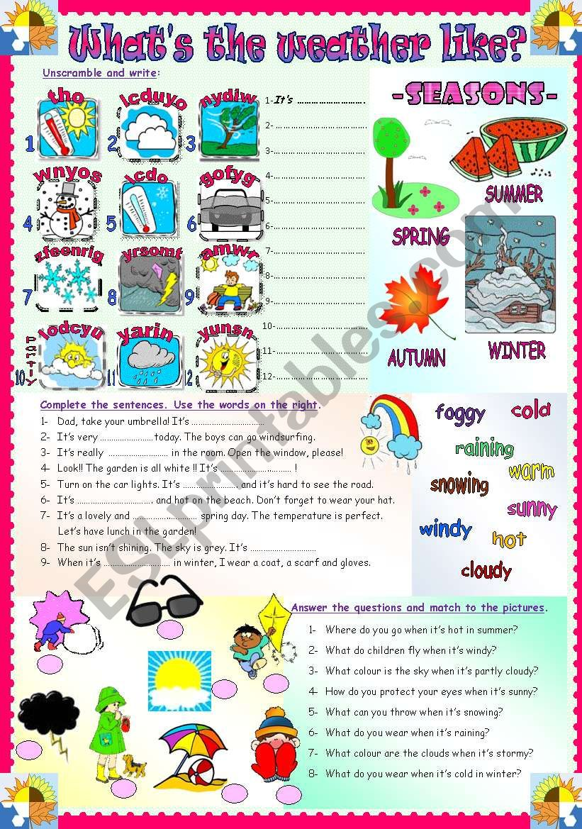 Like Weather What What S The Weather Like Weather Seasons Esl Worksheet By