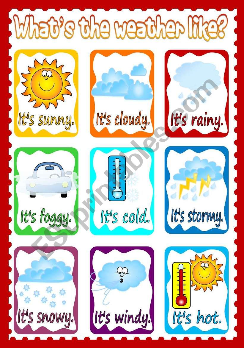 Like Weather What Whats The Weather Like Poster Esl Worksheet By Mada 1