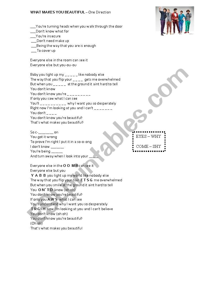Beautiful One What Makes You Beautiful One Direction Song Esl Worksheet By
