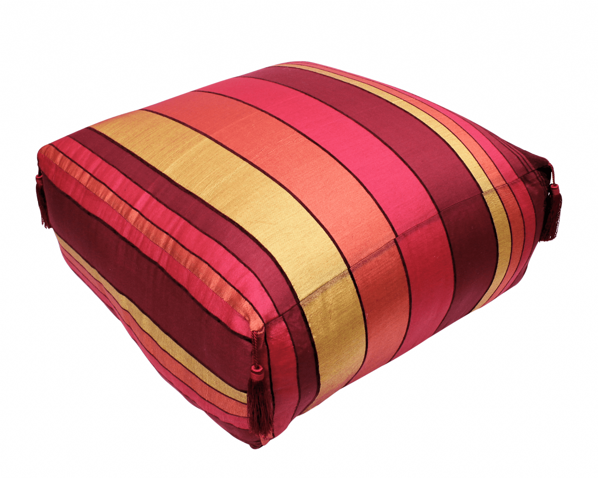 Pouf Xl Moroccan Pouf Pouffe Footrest Floor Cushion Cover Red Sabra Silk With Tassels Xl 65 X 65 X 30 Cm