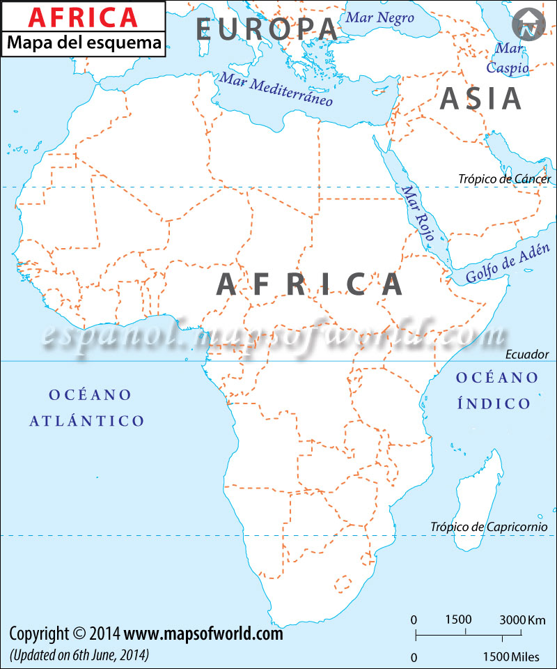 Mapa de Africa en Blanco , Mapa Politico de Africa en Blanco