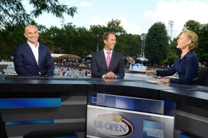 Andre Agassi, Darren Cahill and Chris McKendry - US Open - September 9, 2012