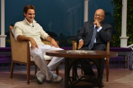 Roger Federer and Mike Tirico - 126th Wimbledon Championships - July 8, 2012