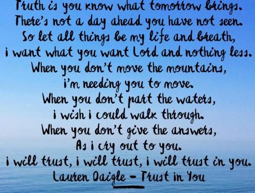 Trust in you