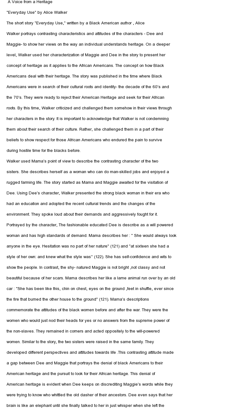 Literary analysis essay everyday use