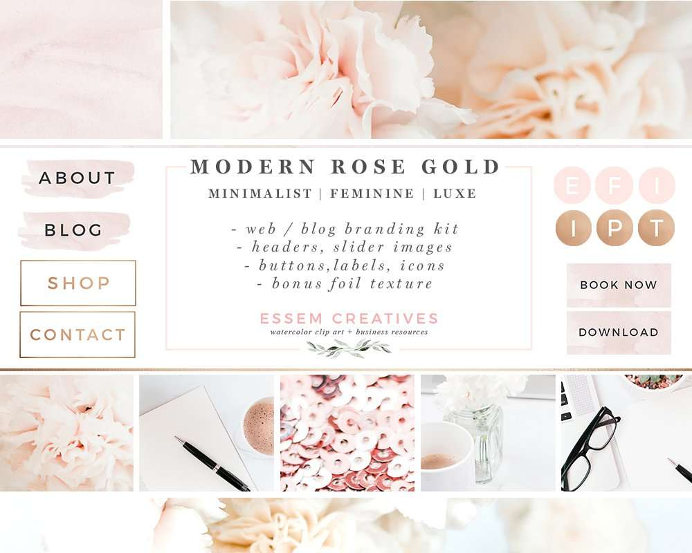 Element Brand Wallpapers Girls Website Branding Kit Floral Pink Peach Rose Gold Theme