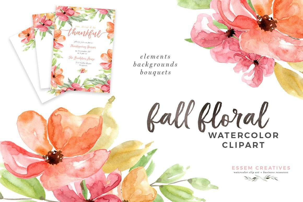 Fall Leaves Wallpaper Border Autumn Fall Watercolor Floral Clipart 5x7 Digital Papers