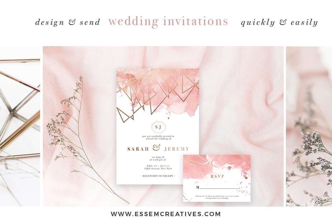 Diy Wedding Invitations With Photo Diy Geometric Watercolor Wedding Invitation Backgrounds
