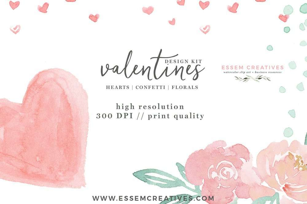 Watercolor Valentines Day Cards, Heart  Confetti PNG Clipart