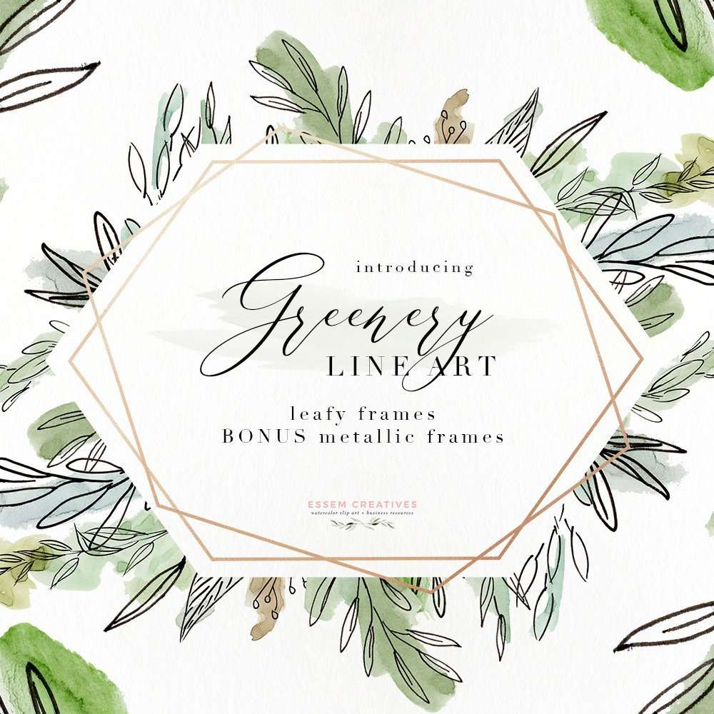 Rustic Picture Frames Png Watercolor Greenery Line Art Png Clipart Tropical Rustic Botanical Wedding Invitation Logo Branding