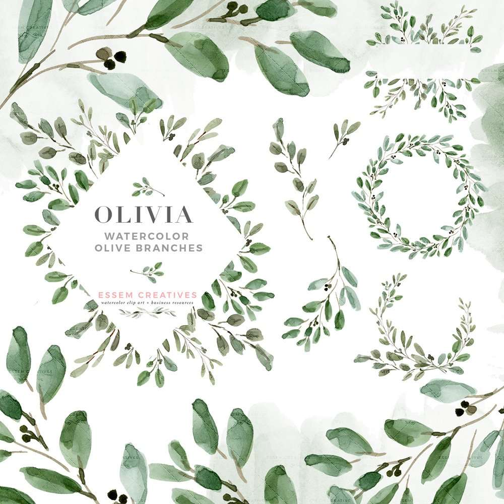 Rustic Picture Frames Png Watercolor Olive Branch Leaves Clipart Rustic Laurel Wreath Clipart Greenery Wedding Invitation