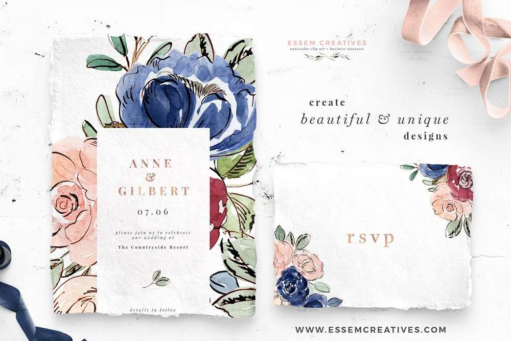 Blush and Navy Blue Watercolor Flowers Clipart, Wedding Invitation