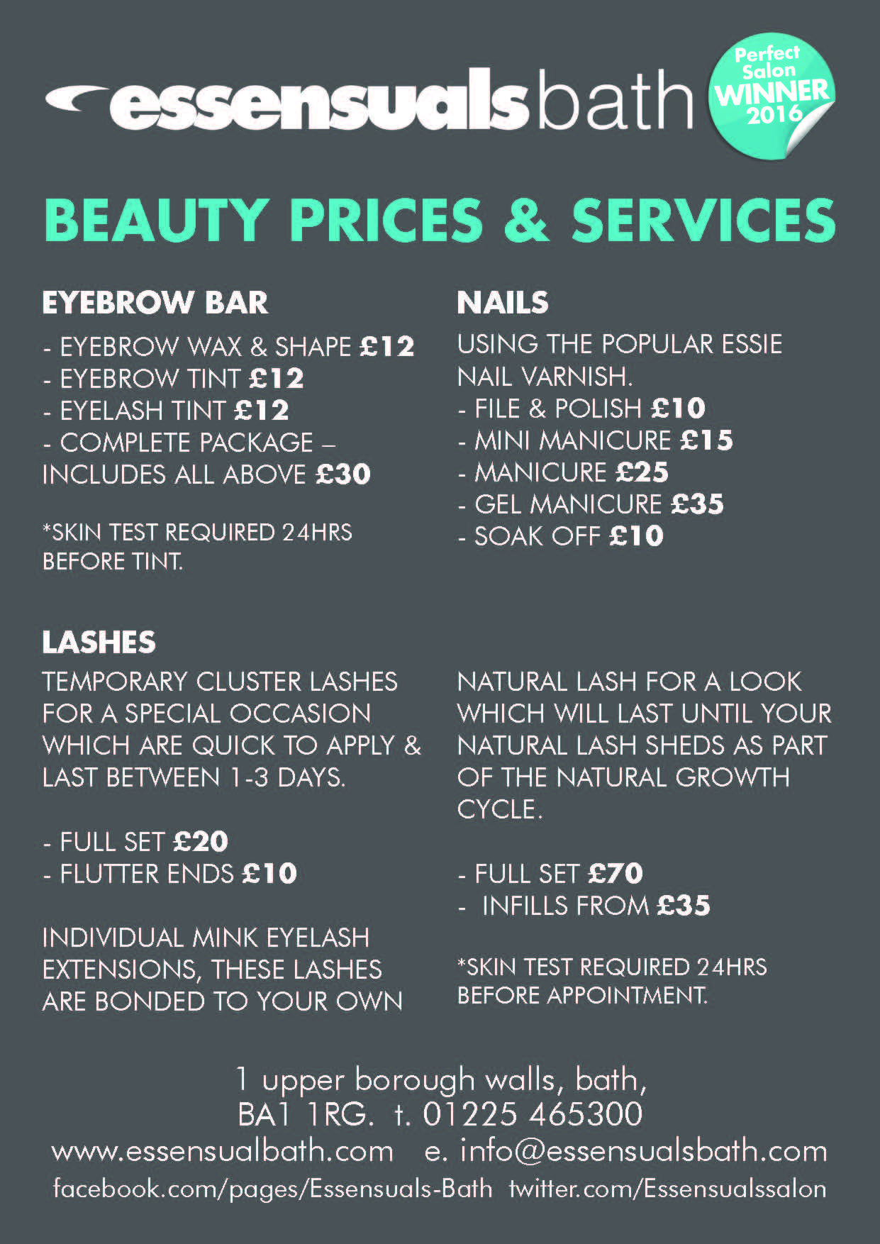 Beauty Salon Prices Services Essensuals Bath Perfect Salon Winner 2016
