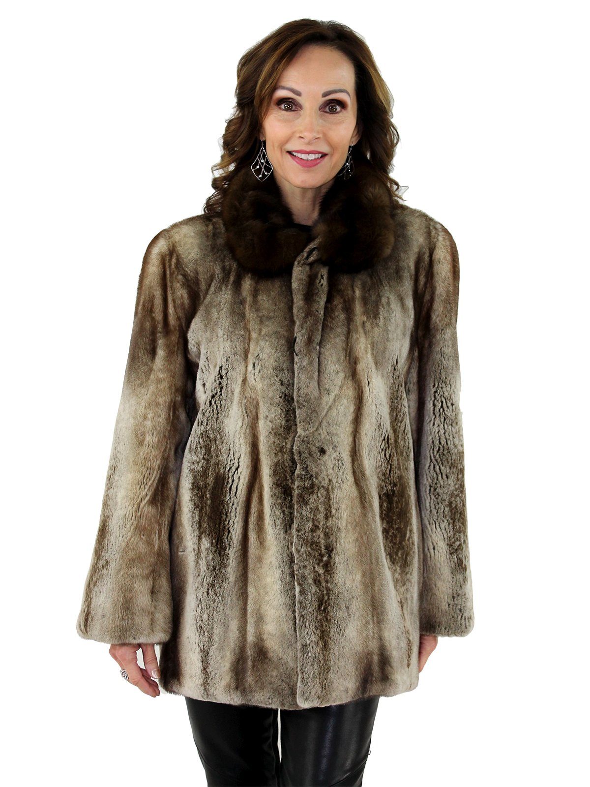 Fur Womens Platinum Semi Sheared Mink Fur Jacket With Sable Fur Collar Women S Mink Fur Jacket Xl Estate Furs