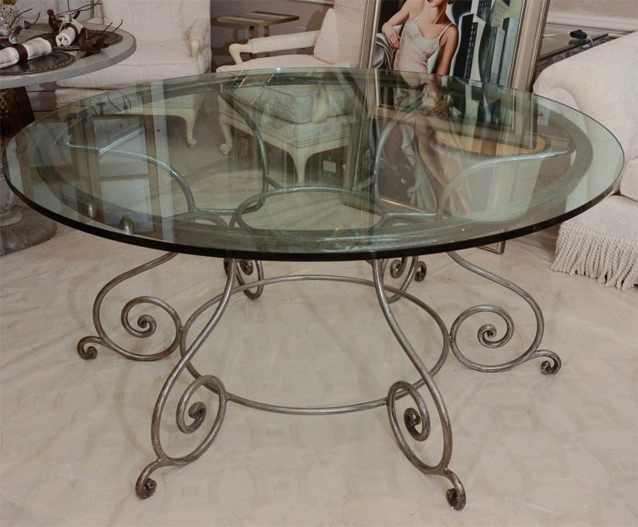 Round Glass Top Dining Table 7 Excellent Wrought Iron