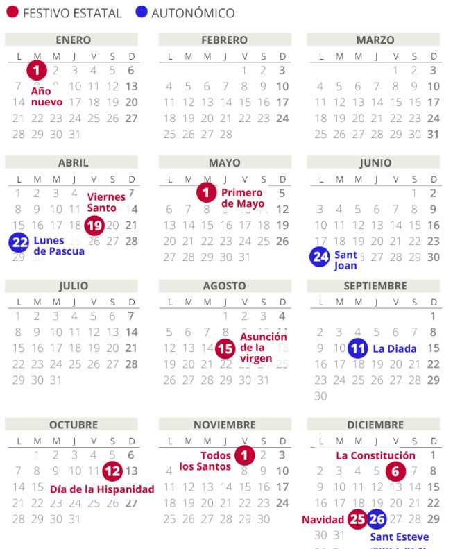 Calendario laboral del 2019 en Catalunya (con todos los festivos)
