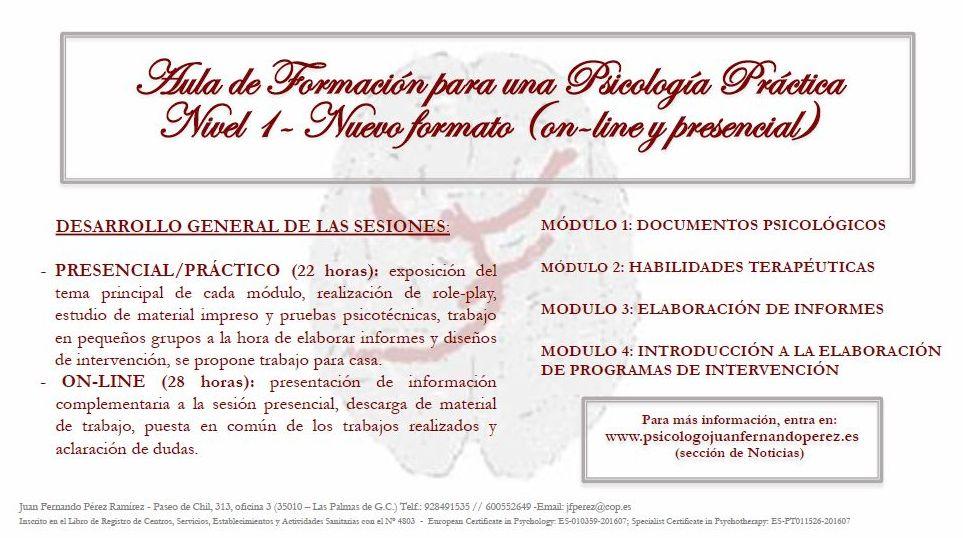 AULA DE FORMACIÓN PARA UNA PSICOLOGÍA PRÁCTICA NIVEL 1