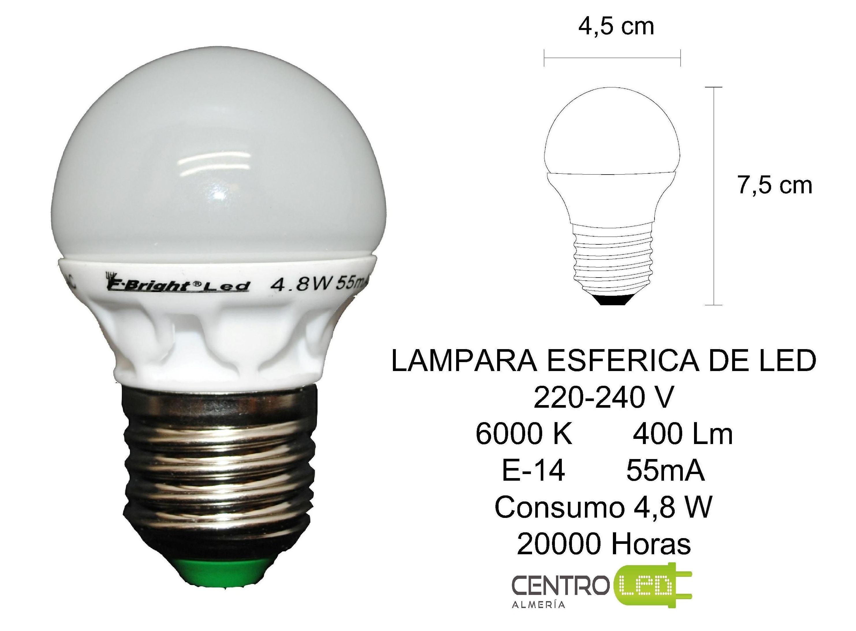 Lamparas Led 220 Lampara Esferica Productos De Centro Led Almería