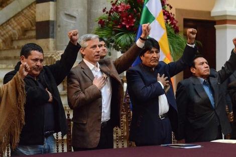 El presidente de Bolivia, Evo Morales, en el Palacio de Gobierno de La Paz.   Efe