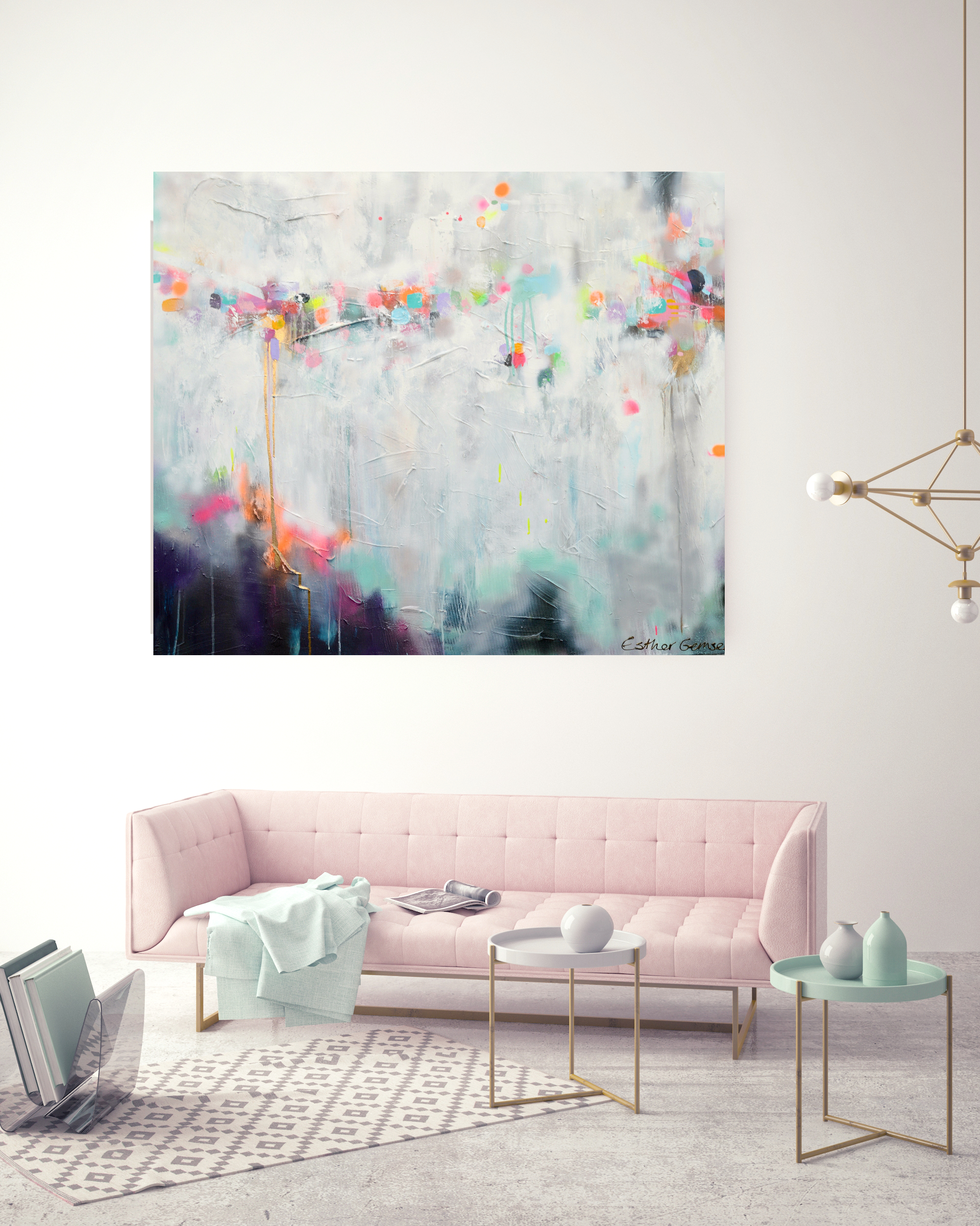 Schilderij Abstract Interieur Abstract Schilderij Van Kunstenares Esther Gemser New Day