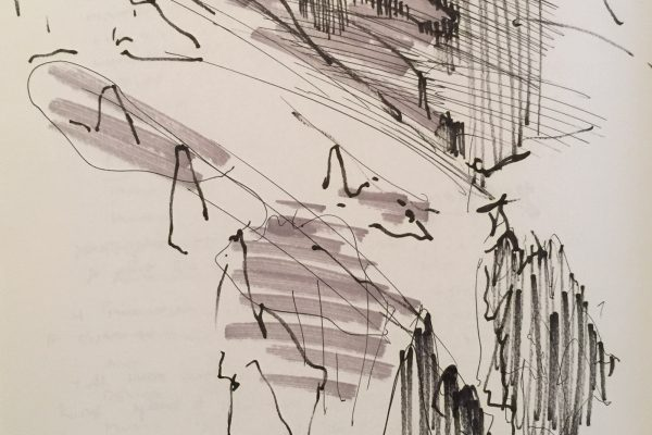 Gesture study of Maybird in Little Cottonwood Canyon, while standing in 10 feet of snow.