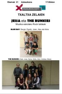 Musika eskolako kontzertuak: Jeisa eta The Bunkies rock taldeak @ Txaltxa Zelaian