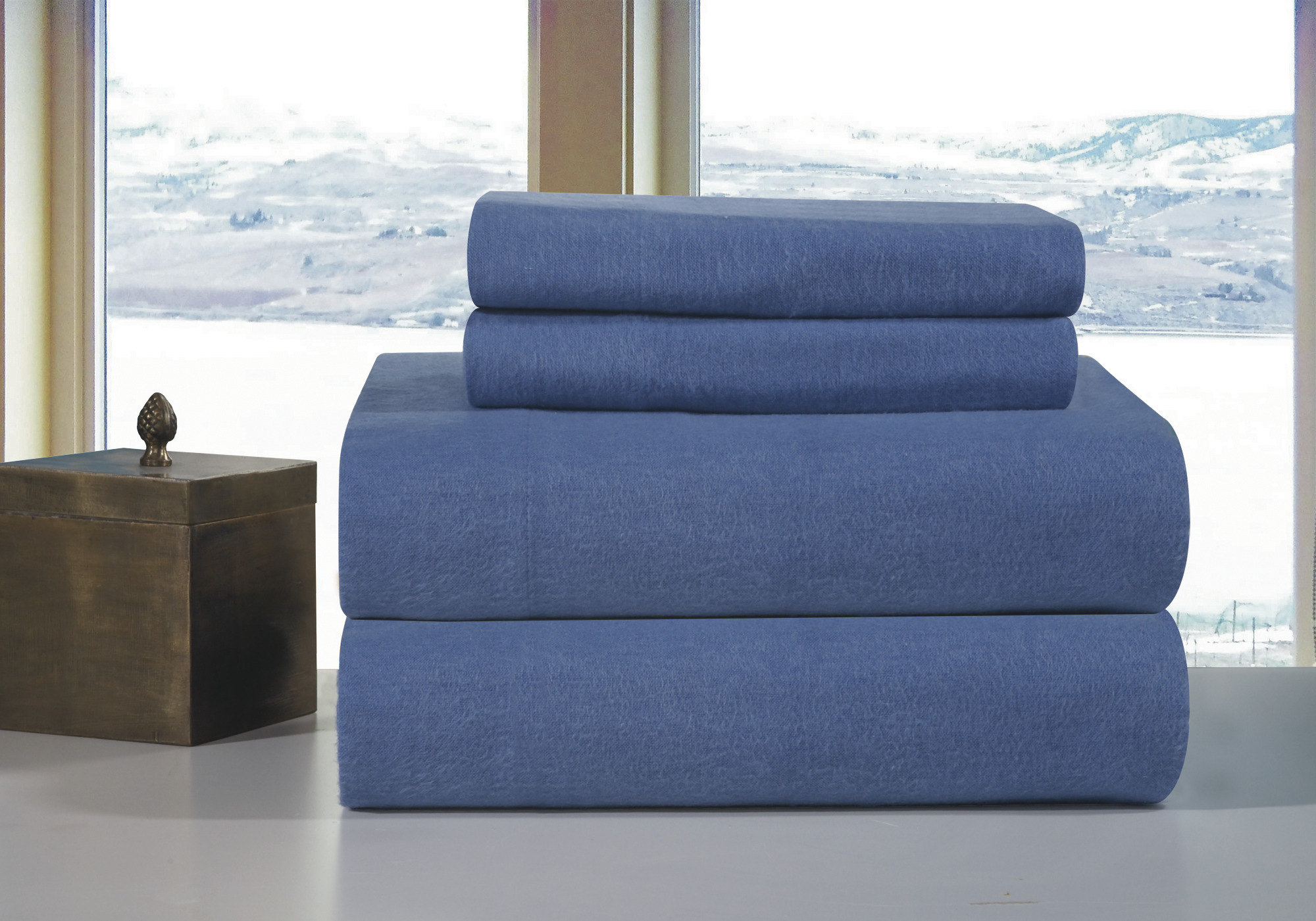 Queen Size Sheet Sets Pointehaven Solid Flannel Queen Size Sheet Set Blue Ebay
